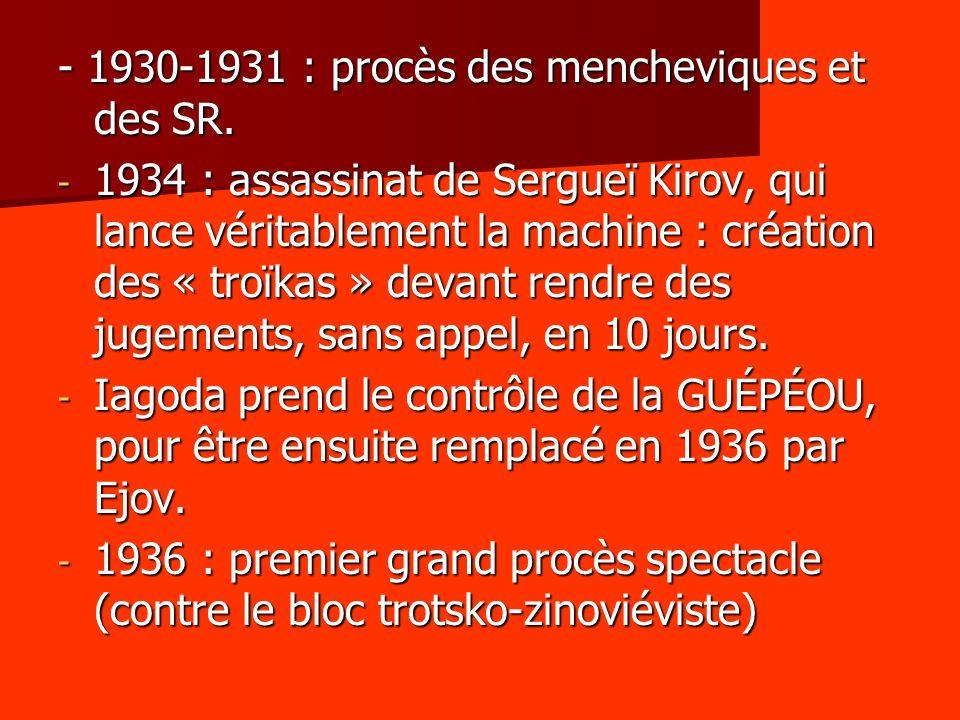 - 1930-1931 : procès des mencheviques et des SR.