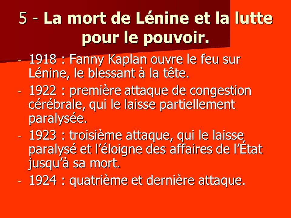 5 - La mort de Lénine et la lutte pour le pouvoir.
