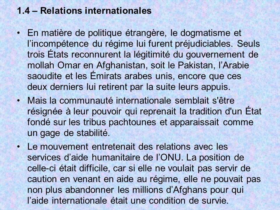 1.4 – Relations internationales