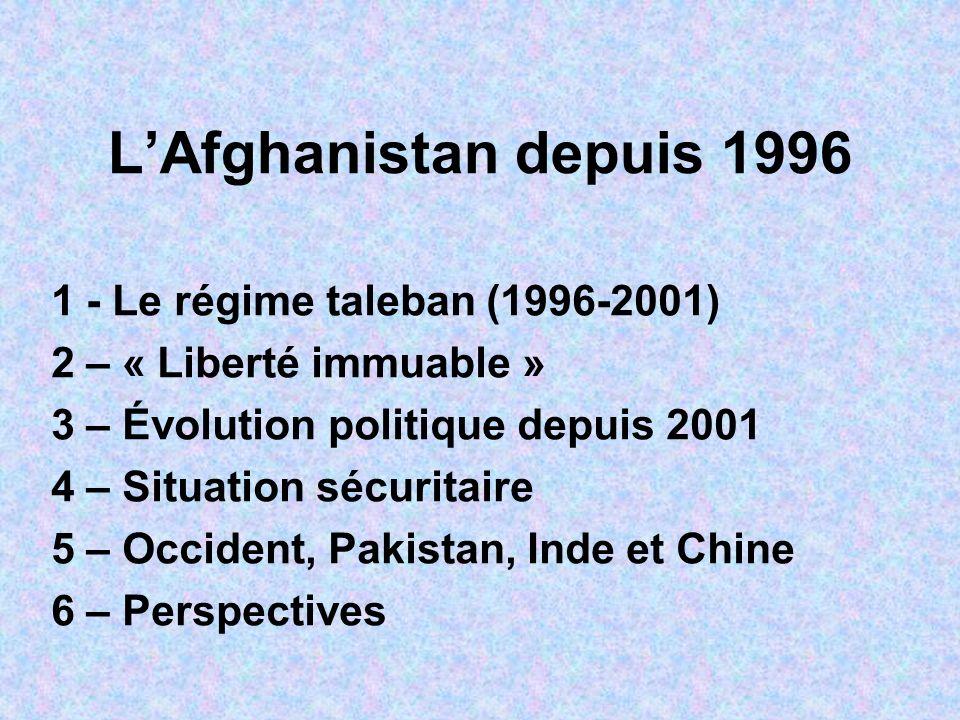 L'Afghanistan depuis 1996 1 - Le régime taleban (1996-2001)