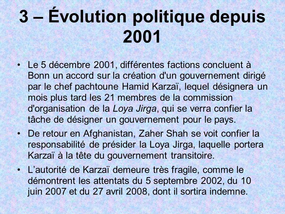 3 – Évolution politique depuis 2001
