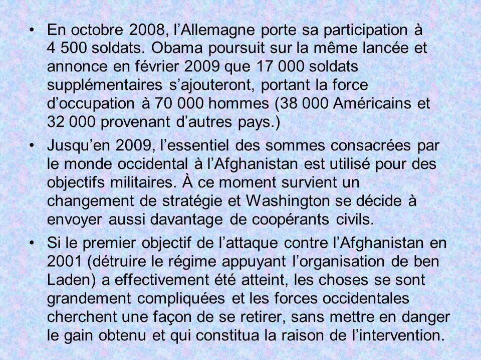 En octobre 2008, l'Allemagne porte sa participation à 4 500 soldats