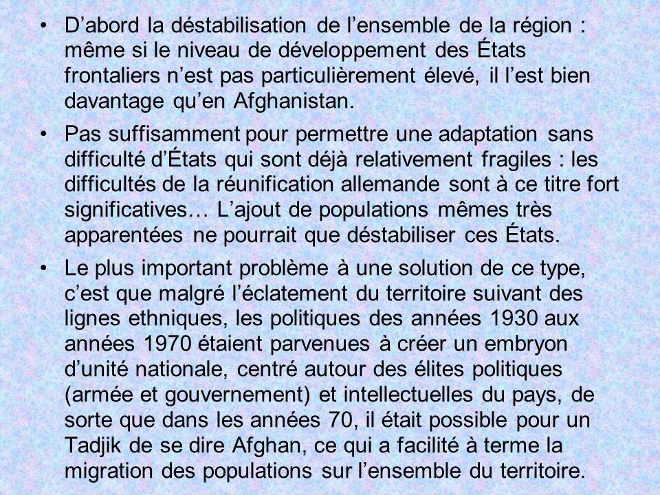 D'abord la déstabilisation de l'ensemble de la région : même si le niveau de développement des États frontaliers n'est pas particulièrement élevé, il l'est bien davantage qu'en Afghanistan.