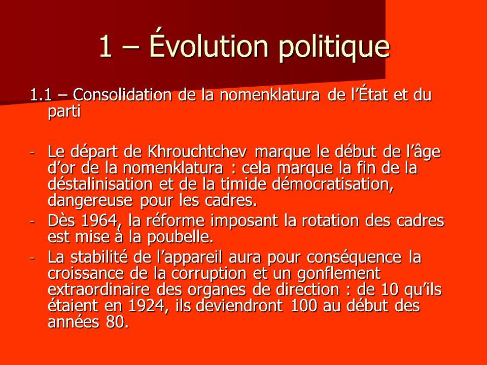 1 – Évolution politique 1.1 – Consolidation de la nomenklatura de l'État et du parti.