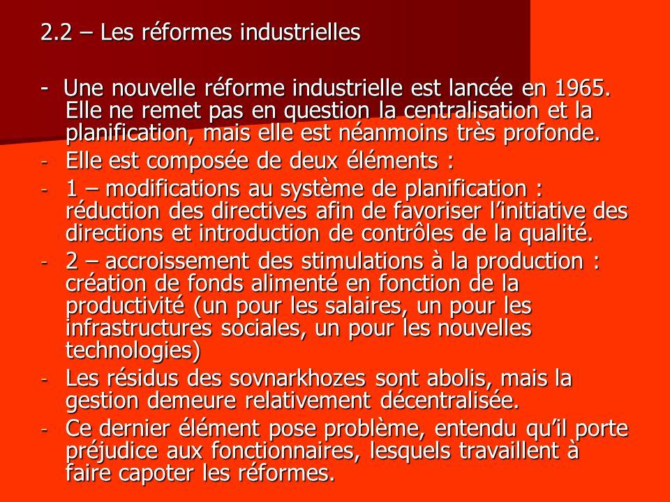 2.2 – Les réformes industrielles