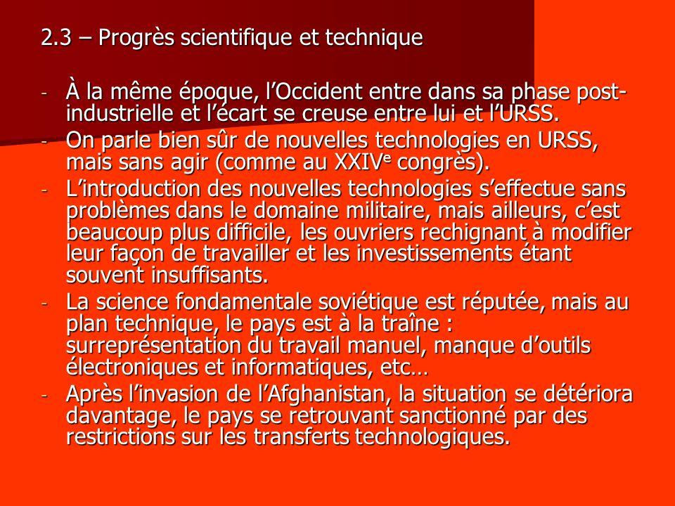 2.3 – Progrès scientifique et technique