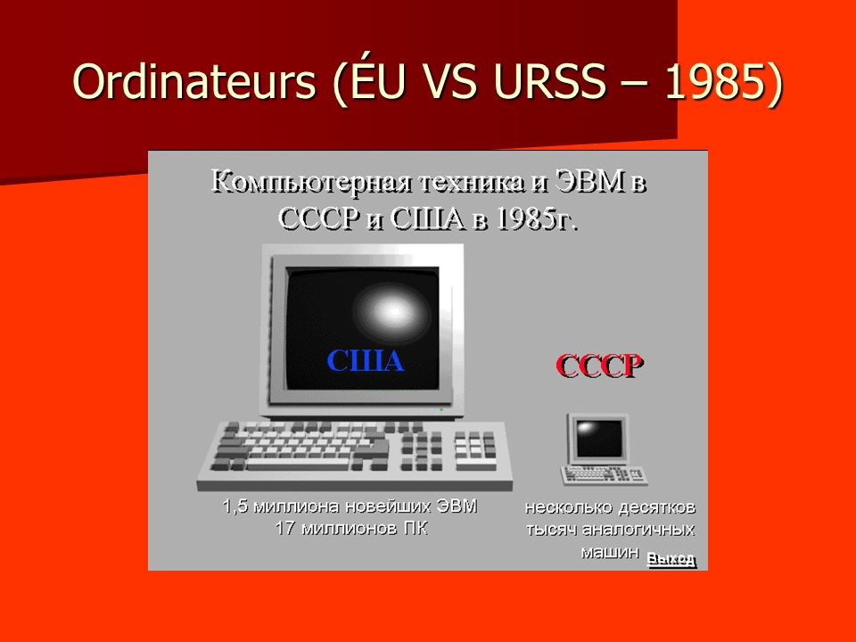 Ordinateurs (ÉU VS URSS – 1985)