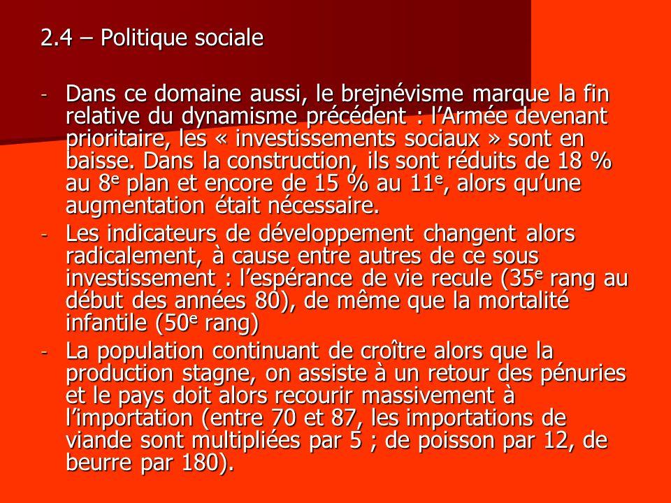 2.4 – Politique sociale