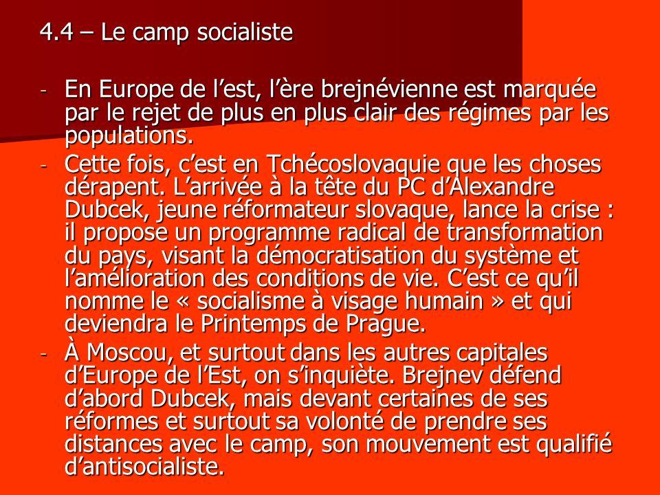 4.4 – Le camp socialiste En Europe de l'est, l'ère brejnévienne est marquée par le rejet de plus en plus clair des régimes par les populations.