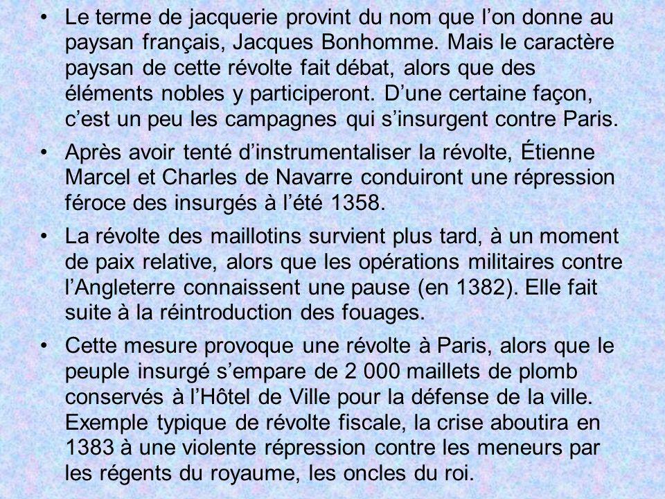 Le terme de jacquerie provint du nom que l'on donne au paysan français, Jacques Bonhomme. Mais le caractère paysan de cette révolte fait débat, alors que des éléments nobles y participeront. D'une certaine façon, c'est un peu les campagnes qui s'insurgent contre Paris.