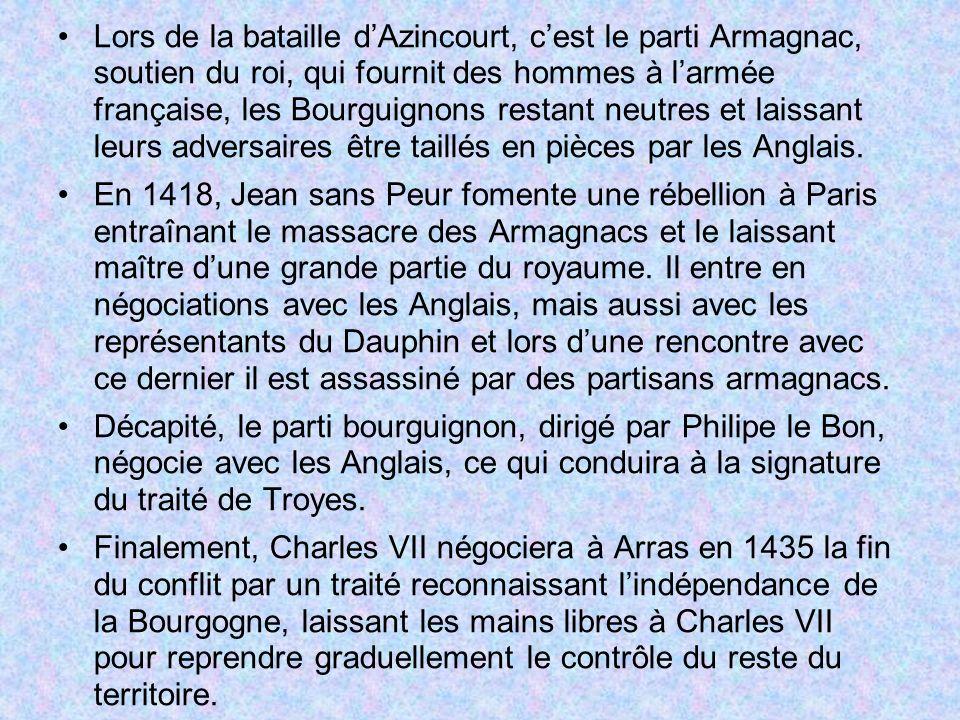 Lors de la bataille d'Azincourt, c'est le parti Armagnac, soutien du roi, qui fournit des hommes à l'armée française, les Bourguignons restant neutres et laissant leurs adversaires être taillés en pièces par les Anglais.