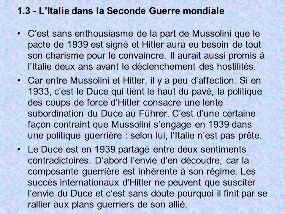 1.3 - L'Italie dans la Seconde Guerre mondiale
