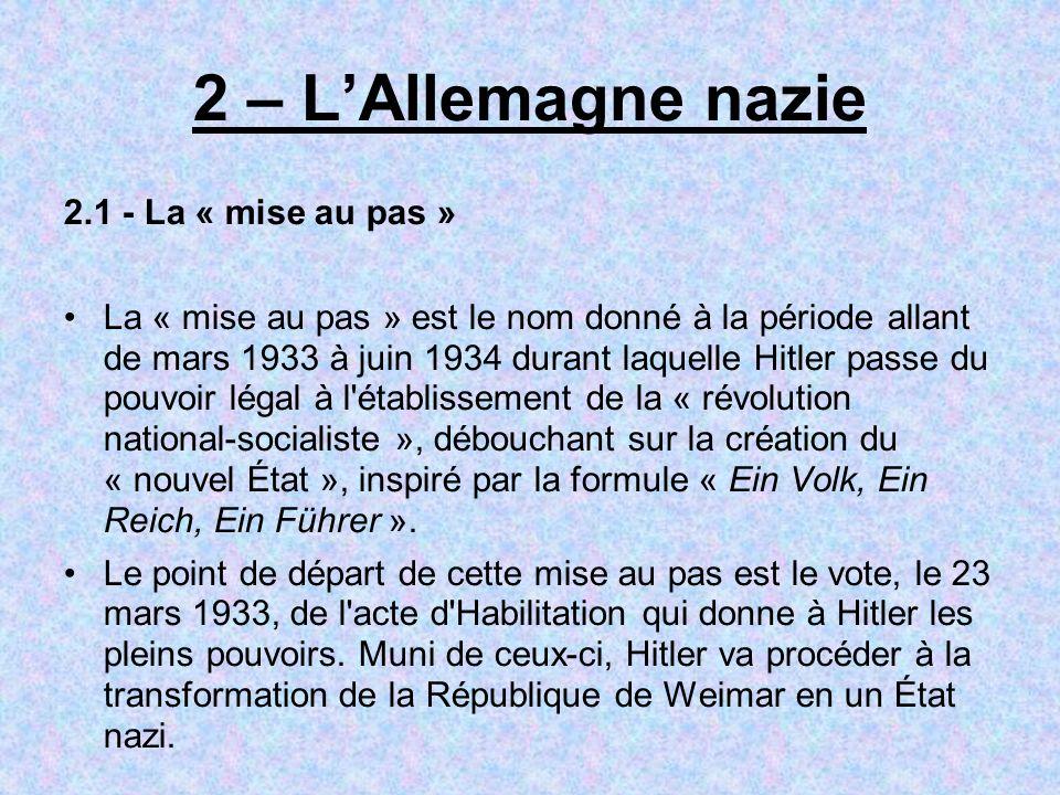 2 – L'Allemagne nazie 2.1 - La « mise au pas »