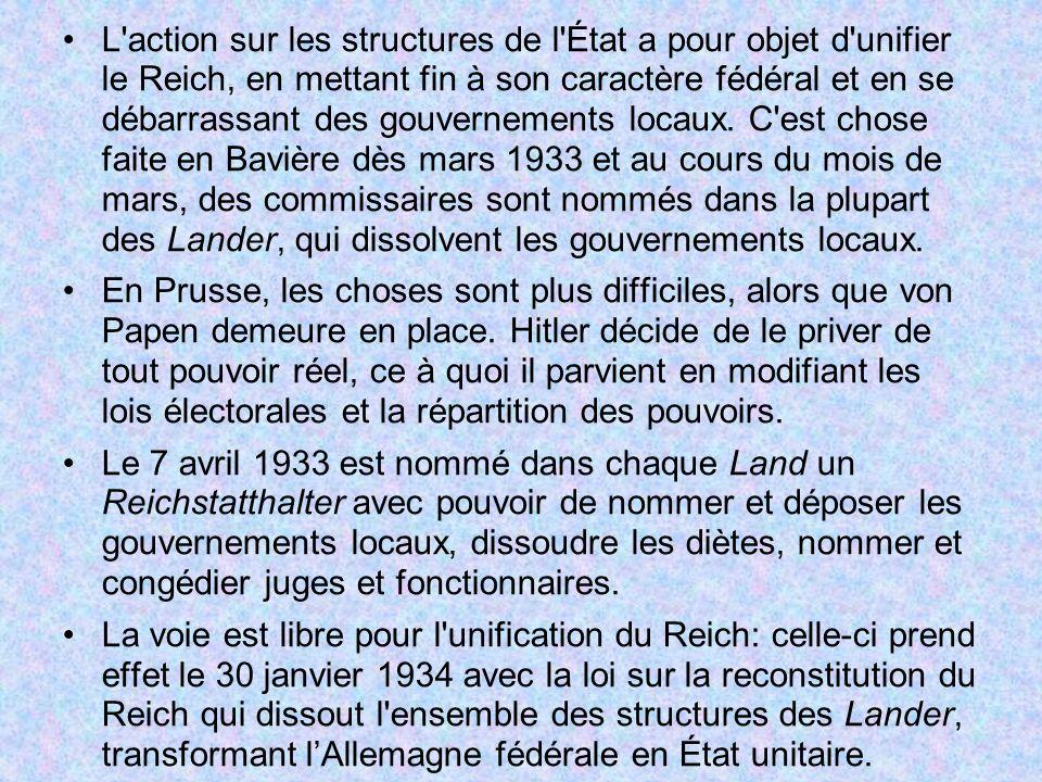 L action sur les structures de l État a pour objet d unifier le Reich, en mettant fin à son caractère fédéral et en se débarrassant des gouvernements locaux. C est chose faite en Bavière dès mars 1933 et au cours du mois de mars, des commissaires sont nommés dans la plupart des Lander, qui dissolvent les gouvernements locaux.