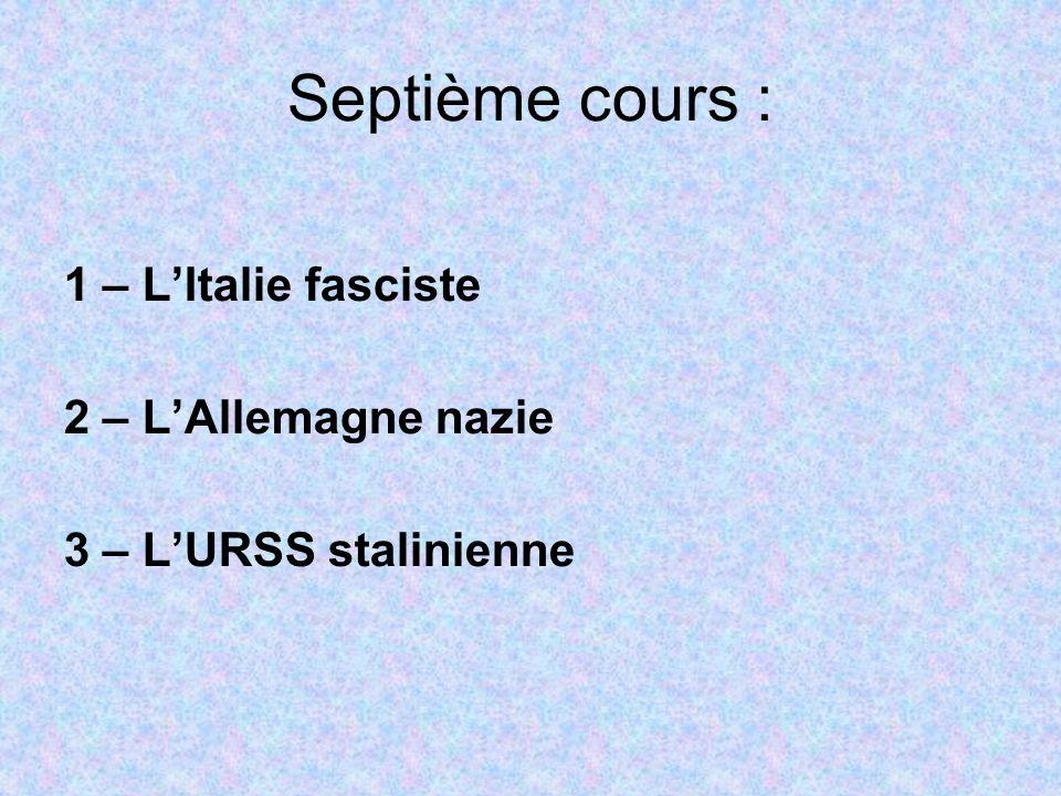 Septième cours : 1 – L'Italie fasciste 2 – L'Allemagne nazie 3 – L'URSS stalinienne
