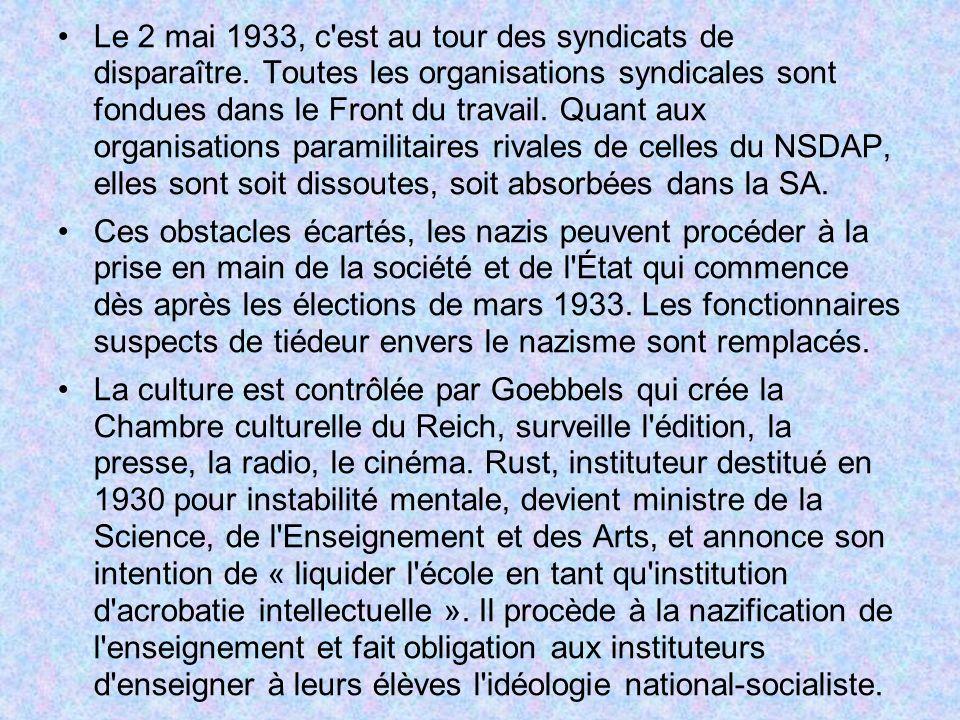 Le 2 mai 1933, c est au tour des syndicats de disparaître
