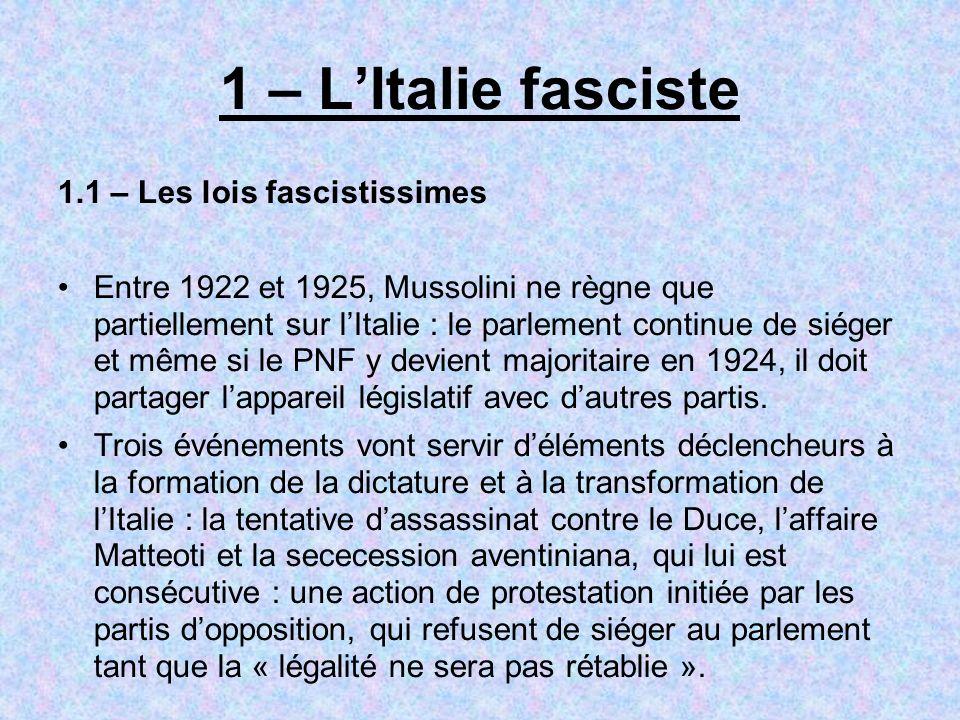 1 – L'Italie fasciste 1.1 – Les lois fascistissimes