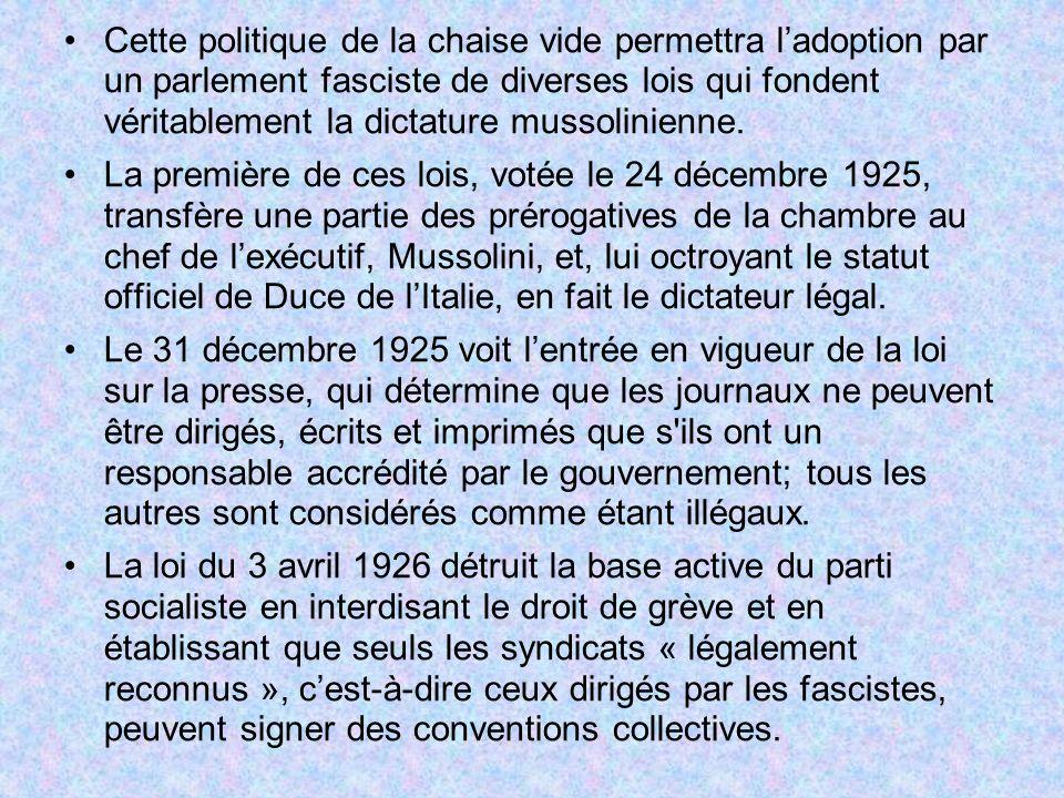 Cette politique de la chaise vide permettra l'adoption par un parlement fasciste de diverses lois qui fondent véritablement la dictature mussolinienne.