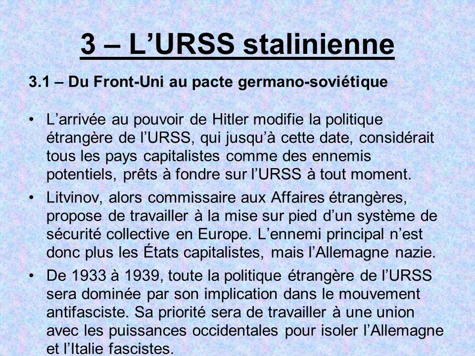 3 – L'URSS stalinienne 3.1 – Du Front-Uni au pacte germano-soviétique