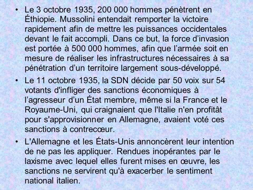Le 3 octobre 1935, 200 000 hommes pénètrent en Éthiopie