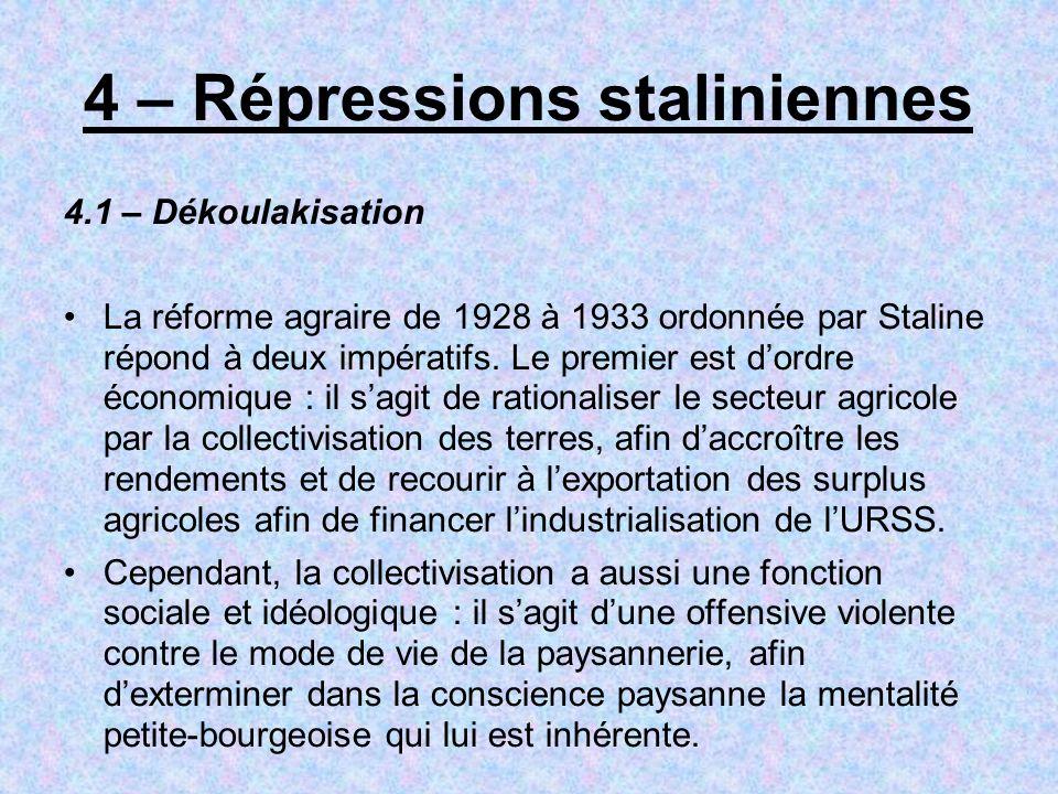4 – Répressions staliniennes