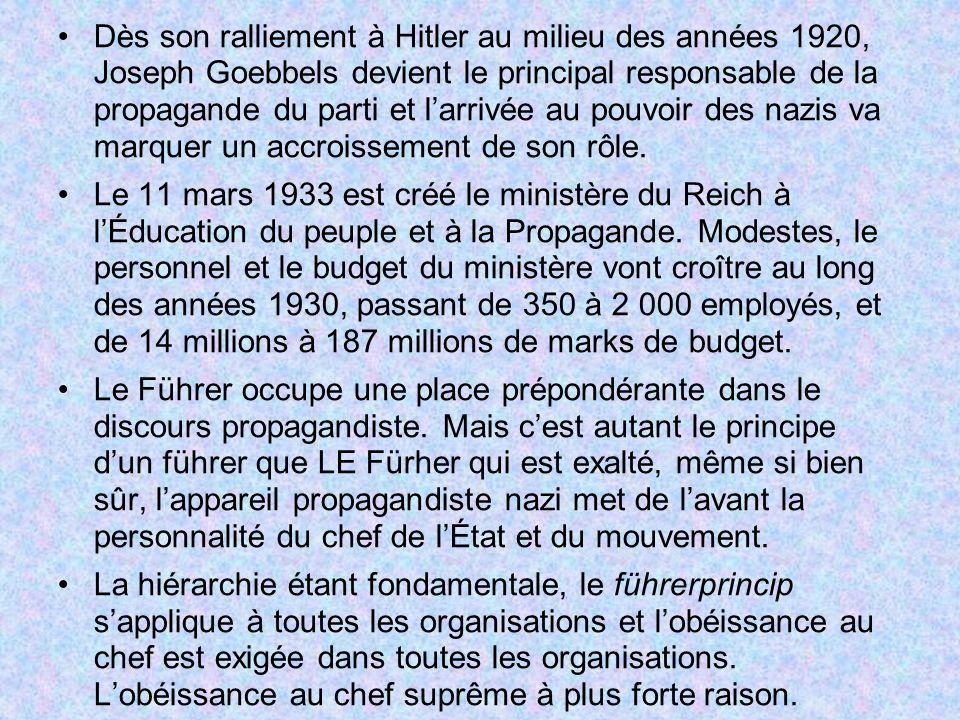 Dès son ralliement à Hitler au milieu des années 1920, Joseph Goebbels devient le principal responsable de la propagande du parti et l'arrivée au pouvoir des nazis va marquer un accroissement de son rôle.
