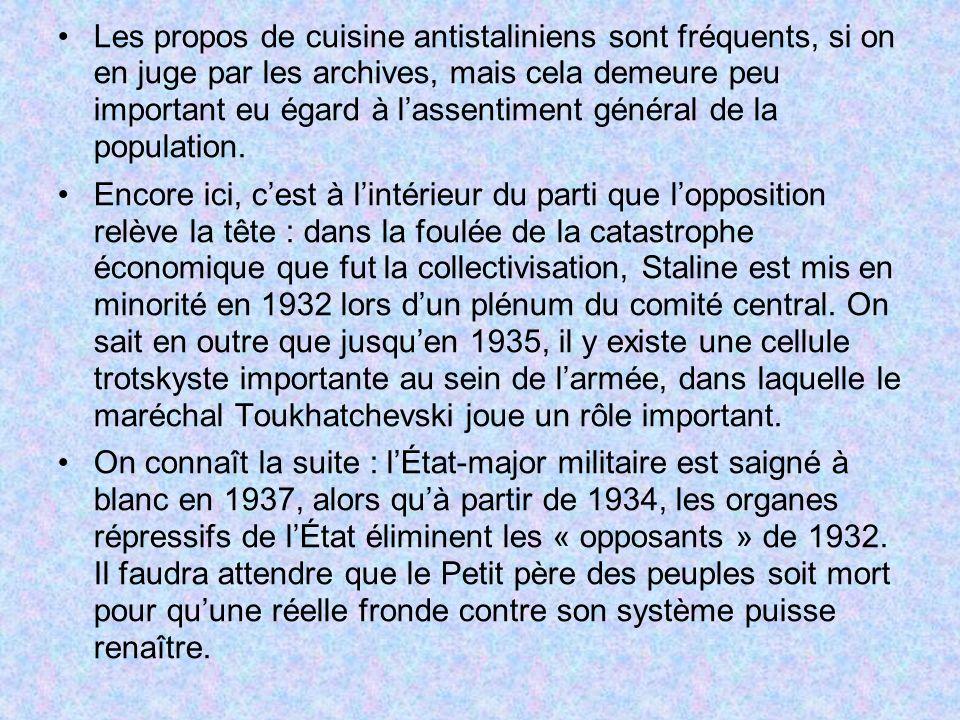 Les propos de cuisine antistaliniens sont fréquents, si on en juge par les archives, mais cela demeure peu important eu égard à l'assentiment général de la population.