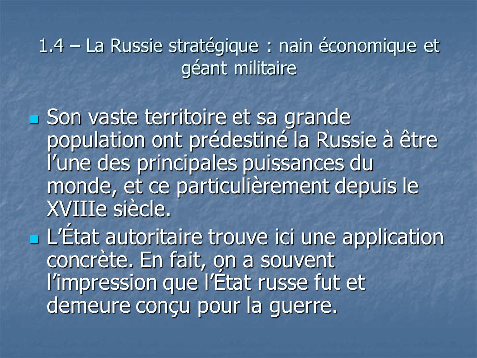 1.4 – La Russie stratégique : nain économique et géant militaire