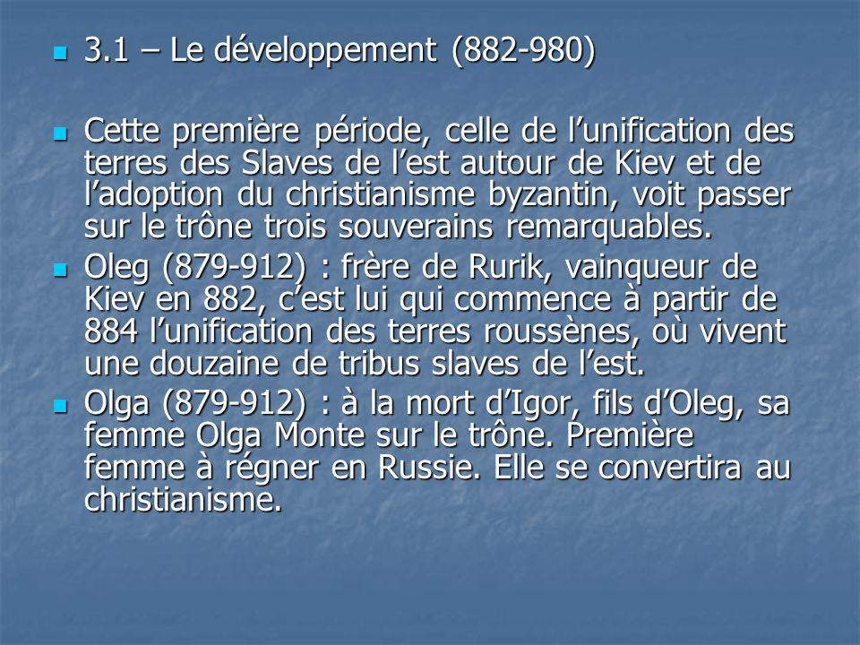 3.1 – Le développement (882-980)