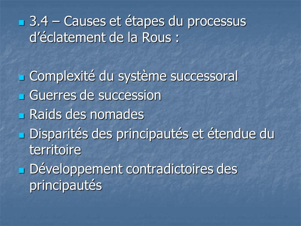 3.4 – Causes et étapes du processus d'éclatement de la Rous :