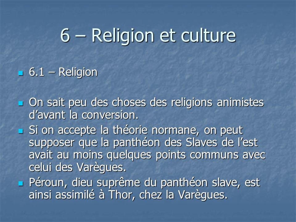 6 – Religion et culture 6.1 – Religion