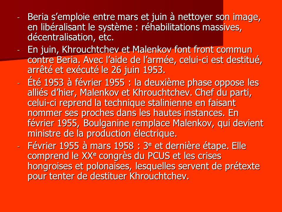Beria s'emploie entre mars et juin à nettoyer son image, en libéralisant le système : réhabilitations massives, décentralisation, etc.