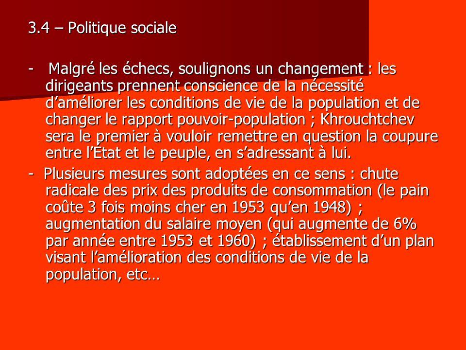 3.4 – Politique sociale