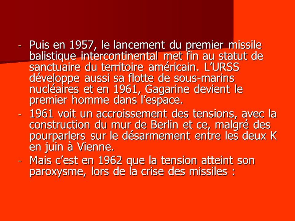 Puis en 1957, le lancement du premier missile balistique intercontinental met fin au statut de sanctuaire du territoire américain. L'URSS développe aussi sa flotte de sous-marins nucléaires et en 1961, Gagarine devient le premier homme dans l'espace.