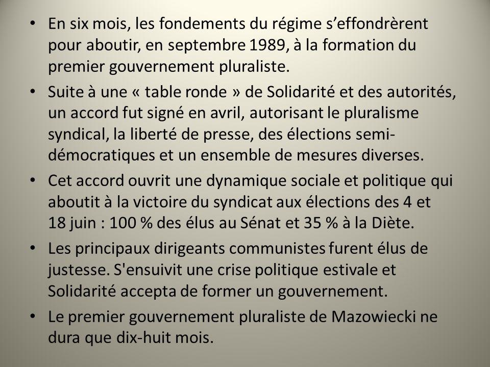 En six mois, les fondements du régime s'effondrèrent pour aboutir, en septembre 1989, à la formation du premier gouvernement pluraliste.