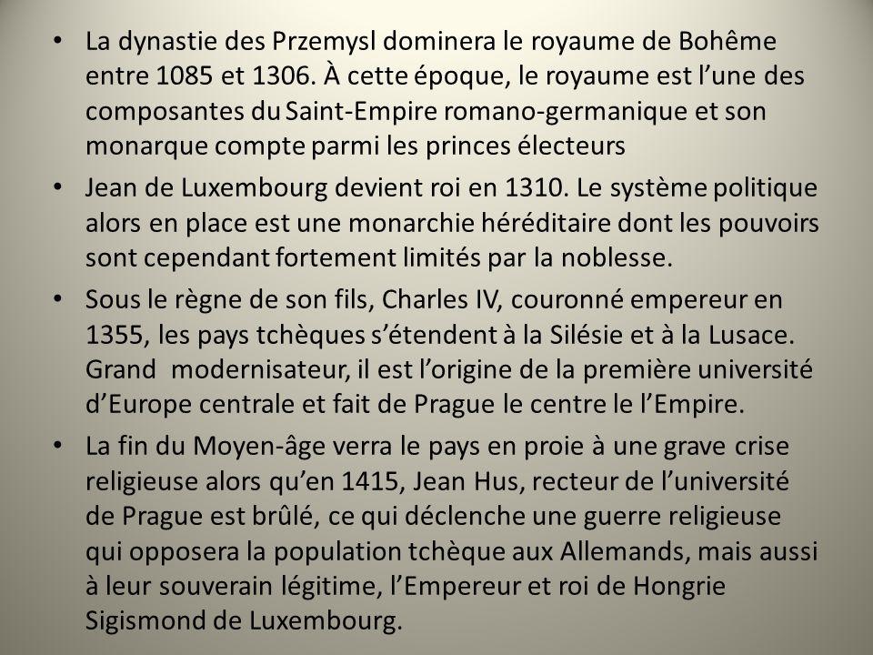 La dynastie des Przemysl dominera le royaume de Bohême entre 1085 et 1306. À cette époque, le royaume est l'une des composantes du Saint-Empire romano-germanique et son monarque compte parmi les princes électeurs