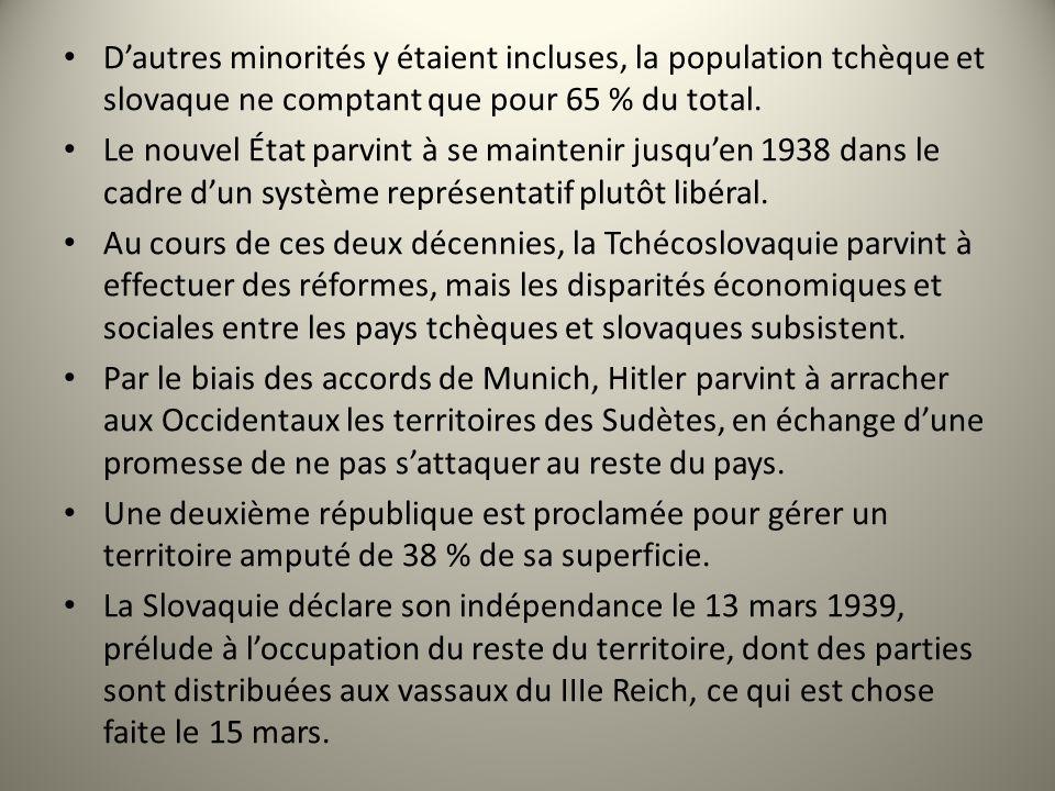D'autres minorités y étaient incluses, la population tchèque et slovaque ne comptant que pour 65 % du total.