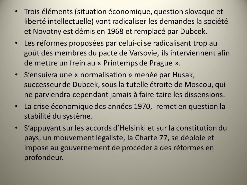 Trois éléments (situation économique, question slovaque et liberté intellectuelle) vont radicaliser les demandes la société et Novotny est démis en 1968 et remplacé par Dubcek.