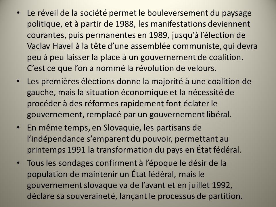 Le réveil de la société permet le bouleversement du paysage politique, et à partir de 1988, les manifestations deviennent courantes, puis permanentes en 1989, jusqu'à l'élection de Vaclav Havel à la tête d'une assemblée communiste, qui devra peu à peu laisser la place à un gouvernement de coalition. C'est ce que l'on a nommé la révolution de velours.
