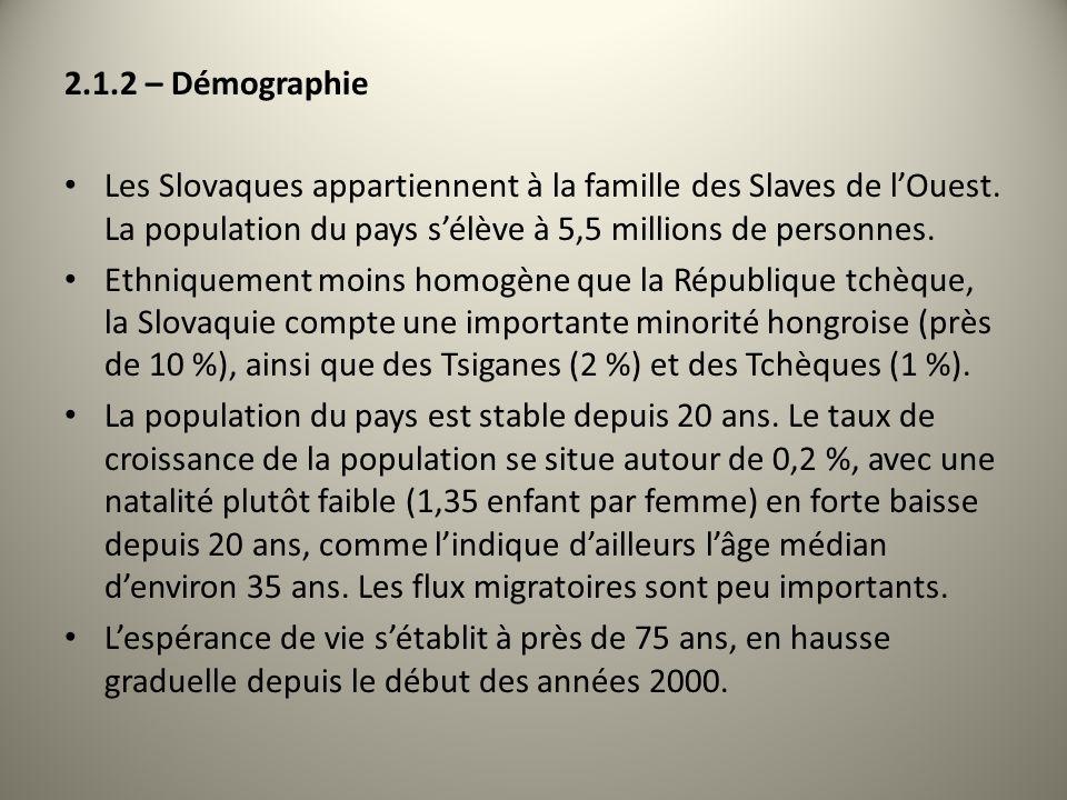 2.1.2 – DémographieLes Slovaques appartiennent à la famille des Slaves de l'Ouest. La population du pays s'élève à 5,5 millions de personnes.