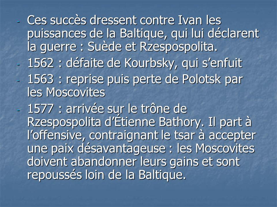 Ces succès dressent contre Ivan les puissances de la Baltique, qui lui déclarent la guerre : Suède et Rzespospolita.