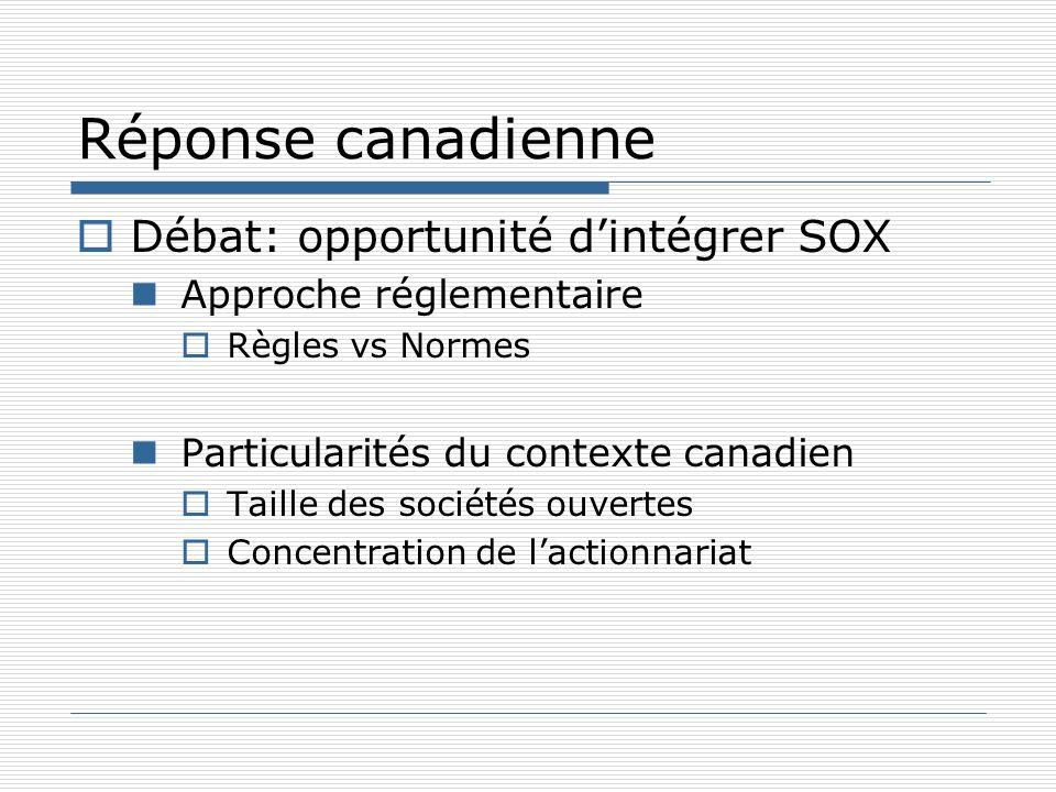 Réponse canadienne Débat: opportunité d'intégrer SOX