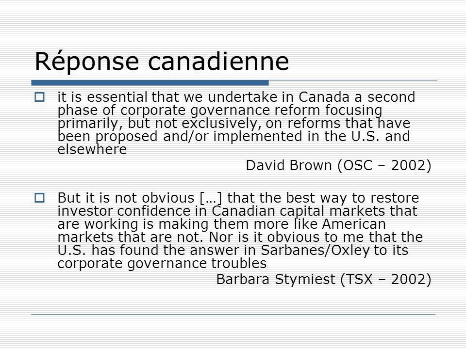 Réponse canadienne