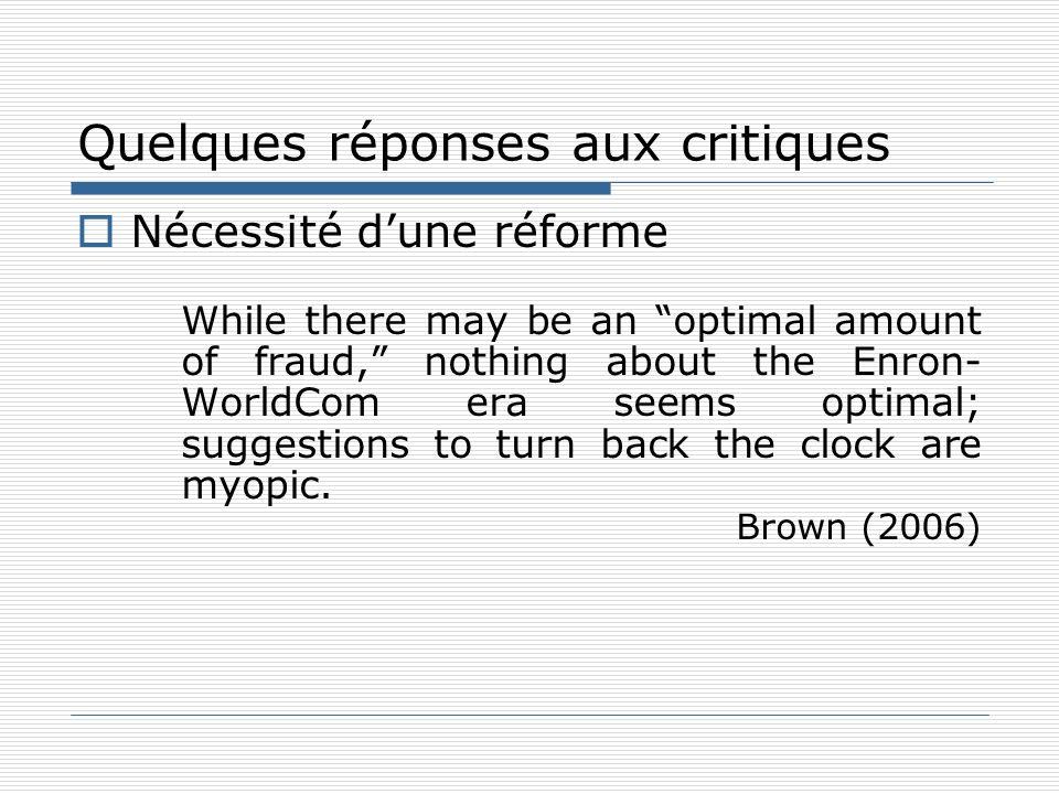 Quelques réponses aux critiques