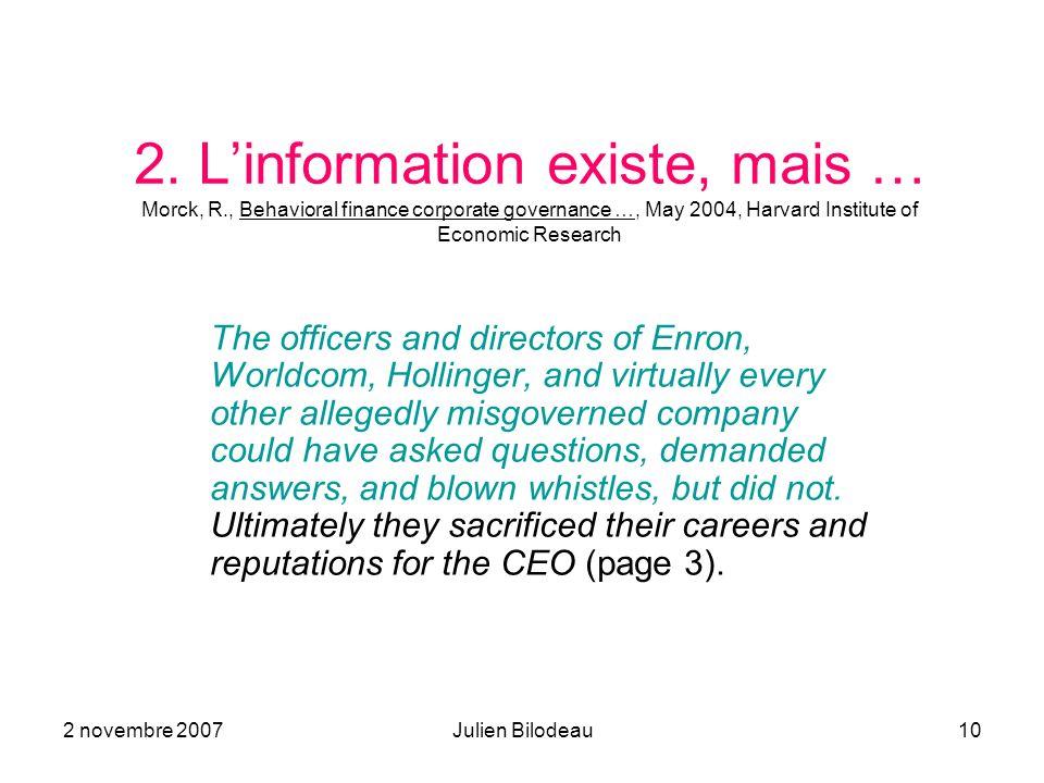 2. L'information existe, mais … Morck, R