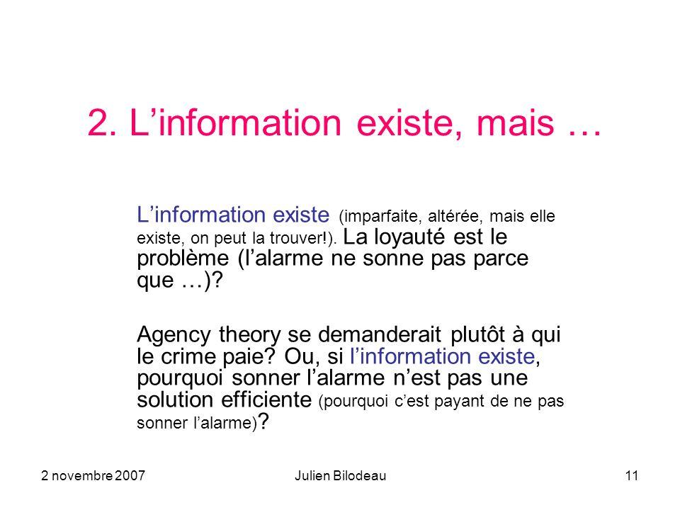 2. L'information existe, mais …