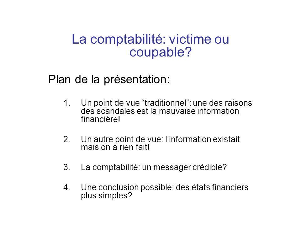 La comptabilité: victime ou coupable