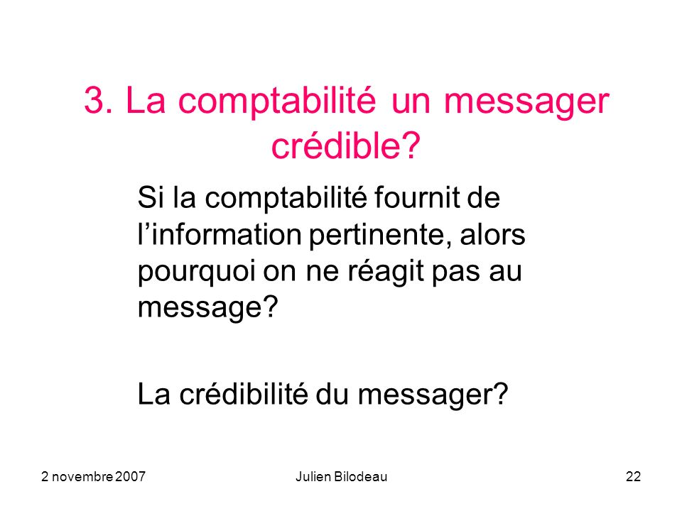 3. La comptabilité un messager crédible