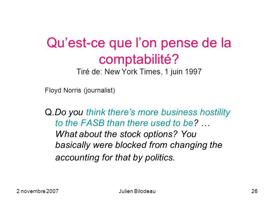 Qu'est-ce que l'on pense de la comptabilité