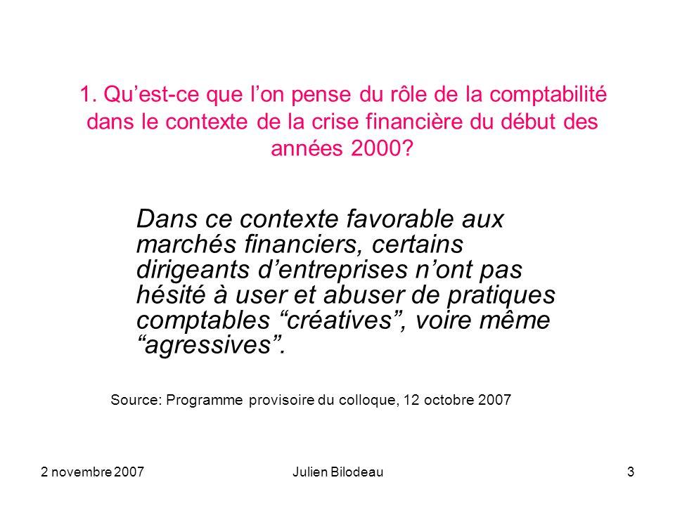 1. Qu'est-ce que l'on pense du rôle de la comptabilité dans le contexte de la crise financière du début des années 2000